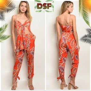 Pants - 🍃 Palm Leaves Lantern Ankle Hollow Sash Jumpsuit